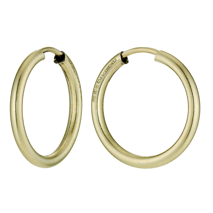 Together Bonded Silver & 9ct Gold Hoop Earrings 15mm - Product number 9760229