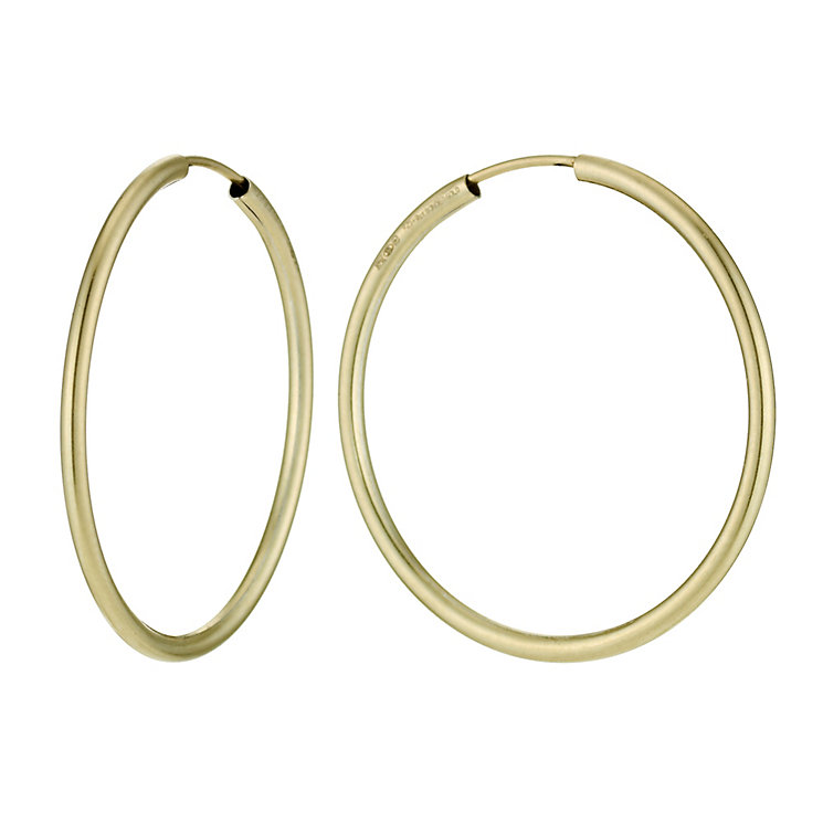 Together Bonded Silver & 9ct Gold Hoop Earrings 35mm - Product number 9760253