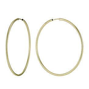 Together Bonded Silver & 9ct Gold Hoop Earrings 55mm - Product number 9760261