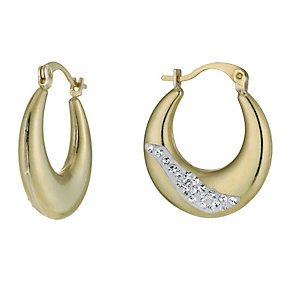 Together Bonded Silver & 9ct Gold Crystal Creole Earrings - Product number 9760288