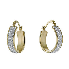 Together Bonded Silver & 9ct Gold Crystal Creole Earrings - Product number 9760318