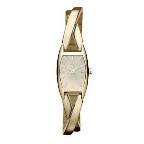 DKNY Ladies' Gold Plated Crossover Bracelet Watch - Product number 9763422
