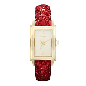 DKNY Ladies' Gold Plated Red Sequin Strap Watch - Product number 9763600