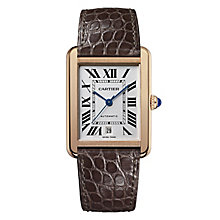 Cartier Tank Solo 18ct rose gold brown strap watch - Product number 9768963