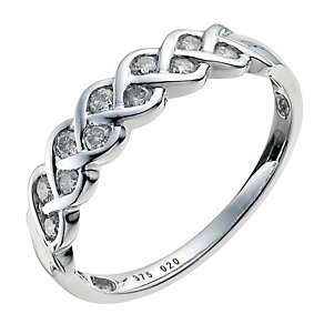 9ct white gold 20pt diamonds plaited eternity ring - Product number 9770119