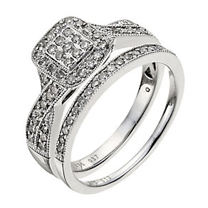9ct white gold 0.50ct diamonds crossover bridal set - Product number 9770240