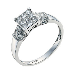 9ct white gold 0.50ct diamonds princess cut cluster ring - Product number 9770518