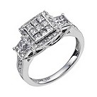 18ct white gold 1 carat diamonds square cluster ring - Product number 9770631