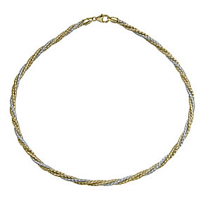 Together Bonded Silver & 9ct Gold Two Colour Twist Necklace - Product number 9771360
