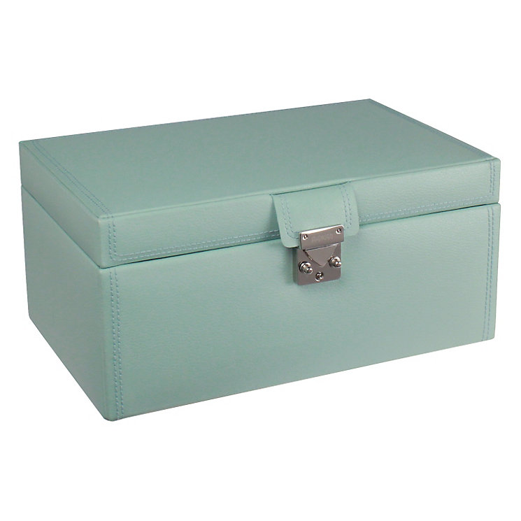 Large duck egg leather jewellery box - Product number 9774769