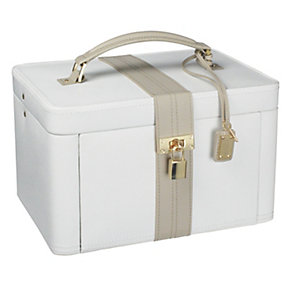 Large cream leather jewellery box - Product number 9774793