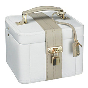 Medium cream leather jewellery box - Product number 9774807