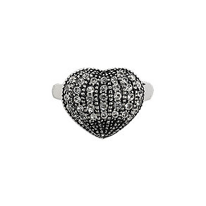 Pilgrim Silver-Plated Crystal Heart Ring - Product number 9778772