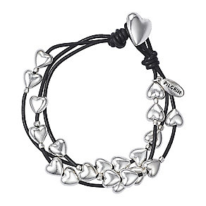 Pilgrim Black Bracelet with Silver-Plated Hearts - Product number 9778799