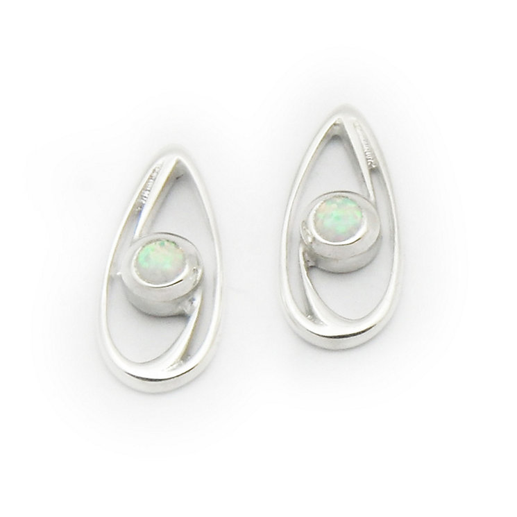 Ortak Silver and White Opal Swirl Earrings - Product number 9778942