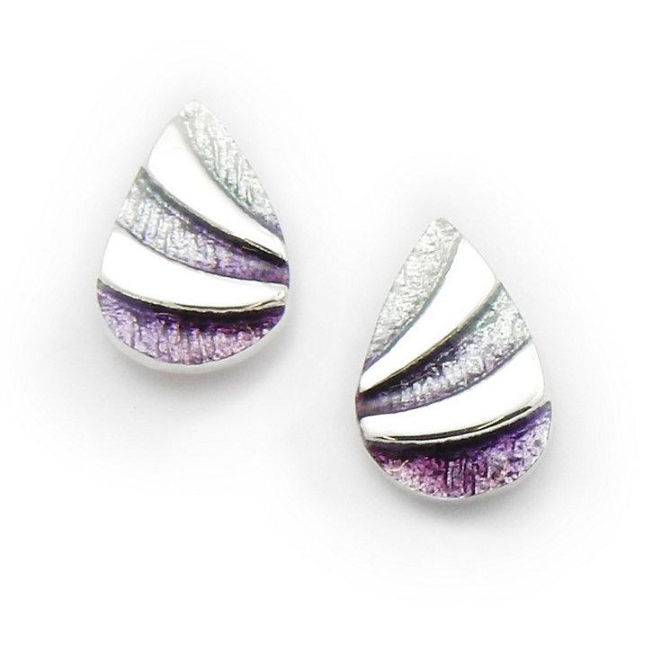 Ortak Silver Hot Glass Enamel Stud Earrings - Product number 9778993