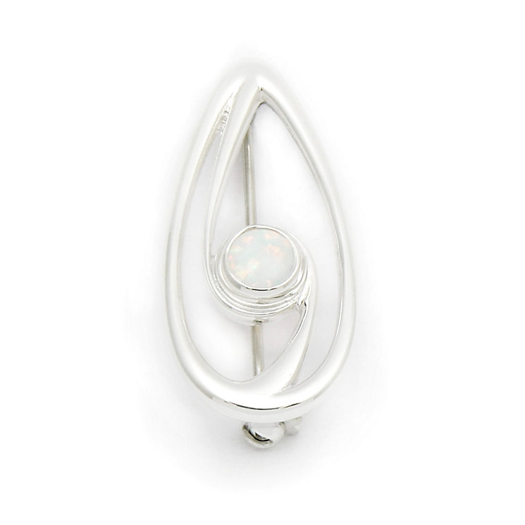 Ortak Silver and White Opal Swirl Brooch - Product number 9779000
