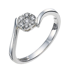 Silver 0.15pt Diamond Cluster Ring - Product number 9796878