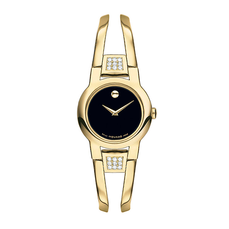 Movado Amorosa ladies' gold plated diamond bracelet watch - Product number 9798005