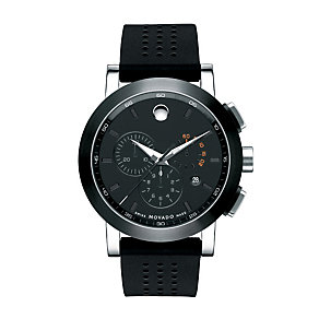 Movado Museum men's ion plated black strap watch - Product number 9798323