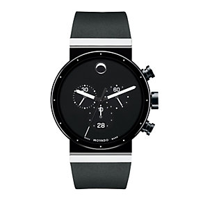 Movado Sapphire men's ion plated black strap watch - Product number 9798366