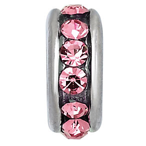 Charmed Memories Sterling Silver Rose Crystal Spacer Bead - Product number 9802436
