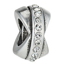Charmed Memories Sterling Silver Crystal Love Knot Spacer - Product number 9802606