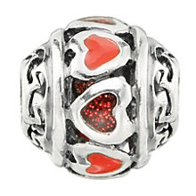 Charmed Memories Sterling Silver Red Enamel Hearts Bead - Product number 9802851