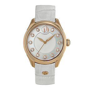 Project D London ladies' rose gold plated white strap watch - Product number 9805036