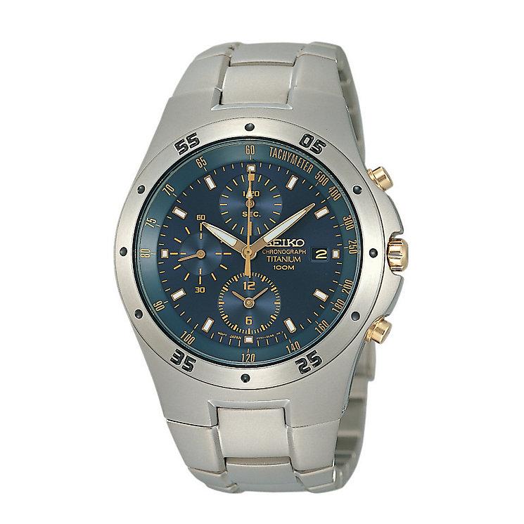 Seiko Men's Blue Dial Titanium Bracelet Watch - Product number 9805672