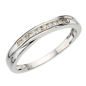 9ct white gold diamond crossover eternity ring - Product number 9806865