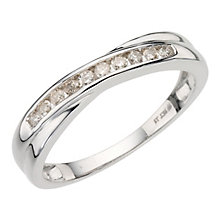9ct white gold 15pt diamond crossover eternity ring - Product number 9807004