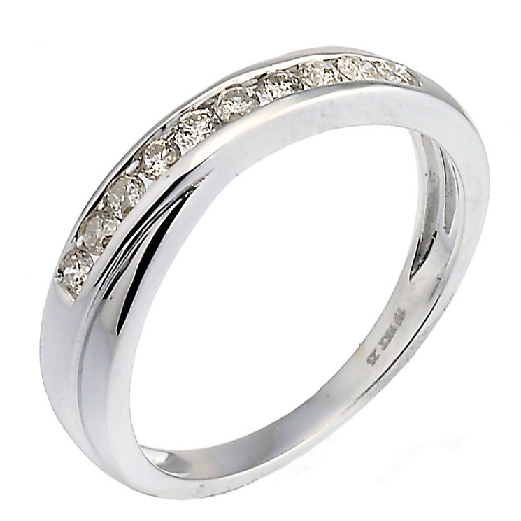 9ct white gold 0.25ct diamond crossover eternity ring - Product number 9807144