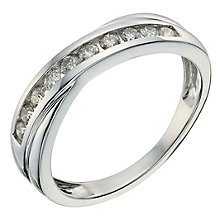 9ct white gold 0.33ct diamond crossover eternity ring - Product number 9807276
