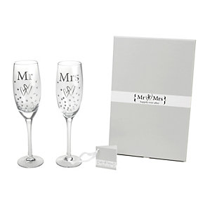 Special Memories Mr & Mrs Crystal Champagne Flutes - Product number 9808310