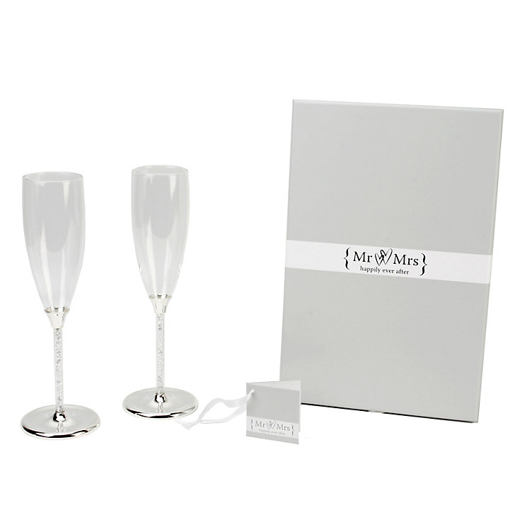 Special Memories Silver Crystal Stem Champagne Flutes - Product number 9809538