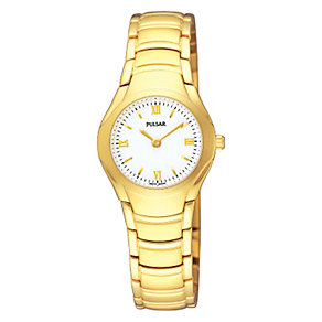 Pulsar White Dial Gold Plated Bracelet Watch - Product number 9813896