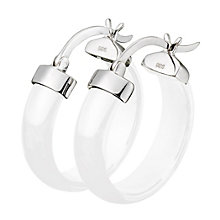 Sterling Silver & White Ceramic Hoop Earrings - Product number 9815805