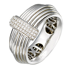 Sterling Silver Diamond Wide Wire Ring - Product number 9815848
