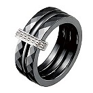 Amanda Wakeley three bar black ceramic diamond ring - Product number 9816445