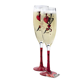 Red Stem Champagne Flutes - Product number 9825037