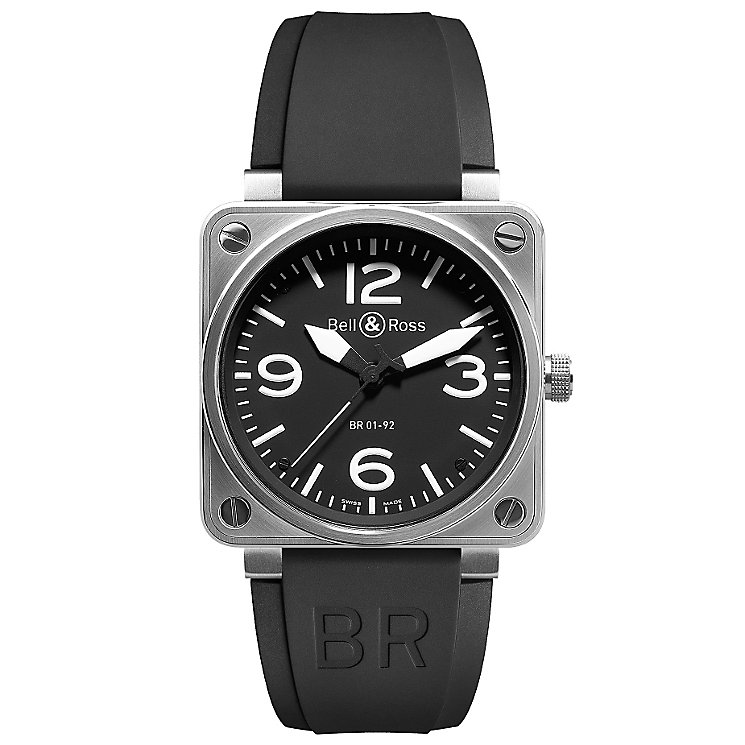 Bell & Ross men's 46mm stainless steel black strap watch - Product number 9825045