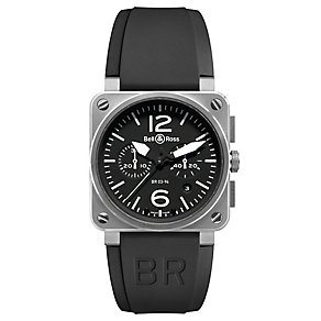 Bell & Ross Steel men's 42mm chronograph black strap watch - Product number 9825363