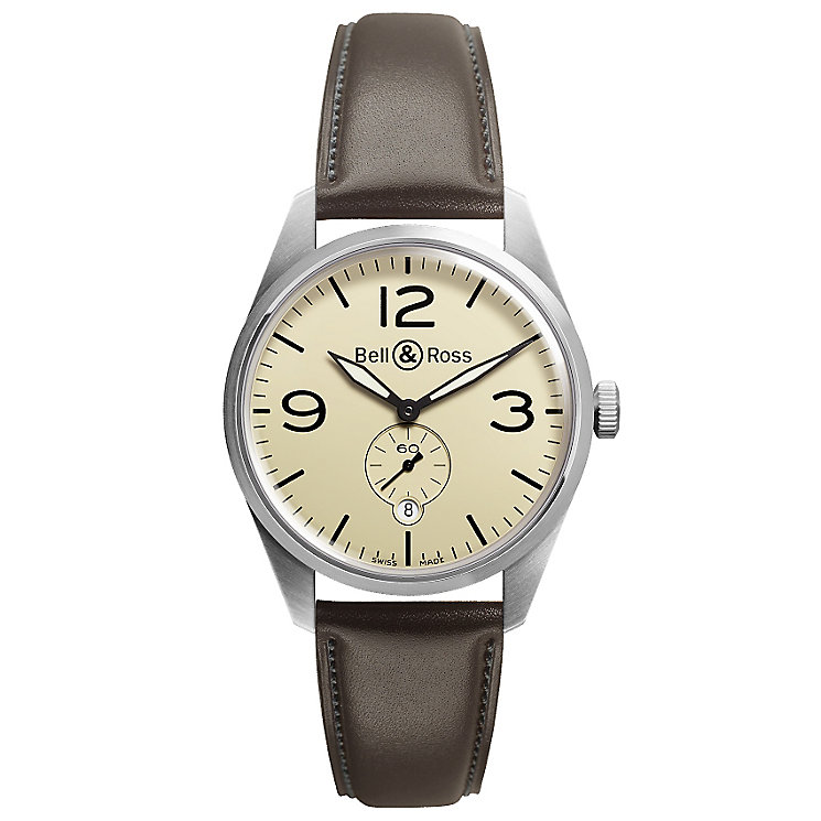 Bell & Ross Vintage men's stainless steel brown strap watch - Product number 9825487