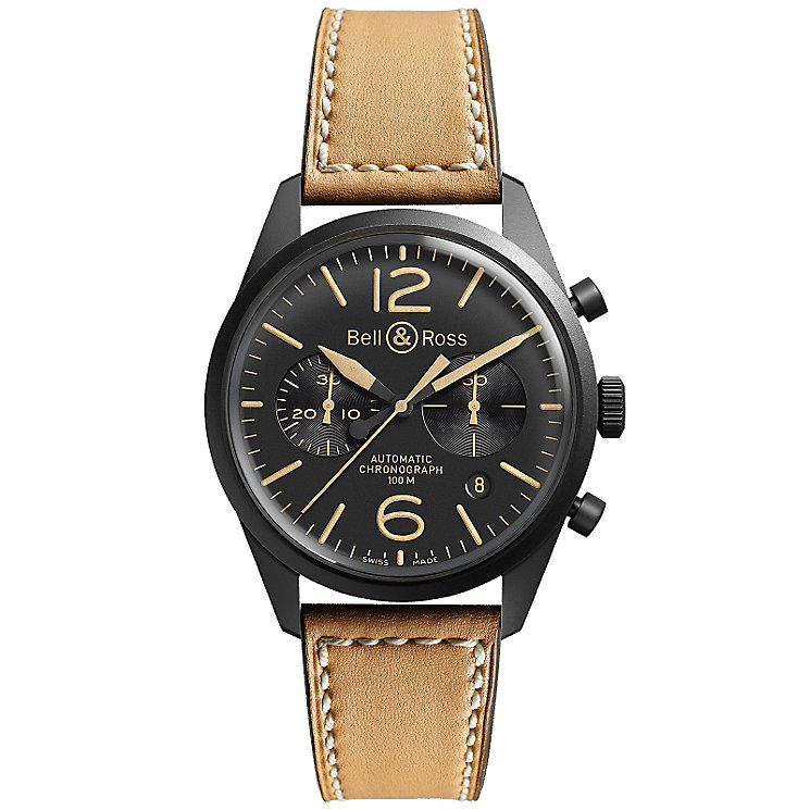 Bell & Ross Vintage men's ion-plated tan strap watch - Product number 9825606