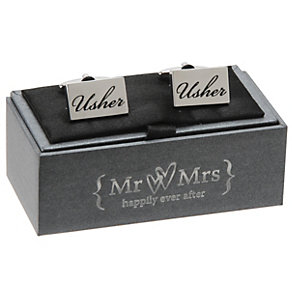 Special Memories Black Engraved Usher Cufflinks - Product number 9825851