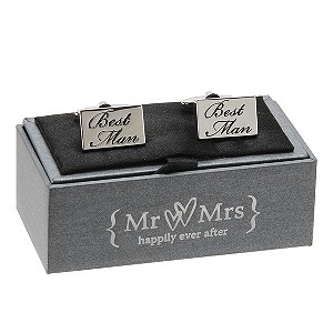 Special Memories Black Engraved Best Man Cufflinks