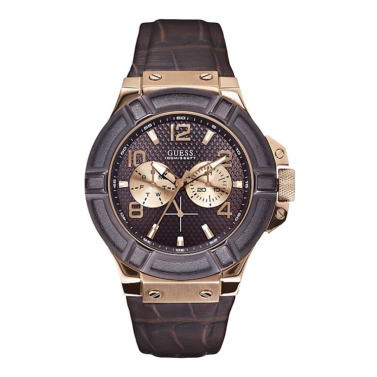 Guess Gents' Brown Leather Strap Watch - Product number 9827862
