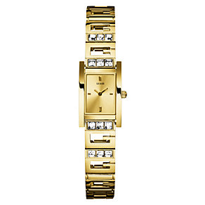 Guess Ladies' Rectangle Gold Plated Bracelet Watch - Product number 9853502