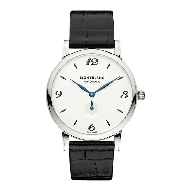 Montblanc men's stainless steel black leather strap watch - Product number 9891919
